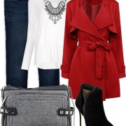 Mom Style Fashion Red Coat