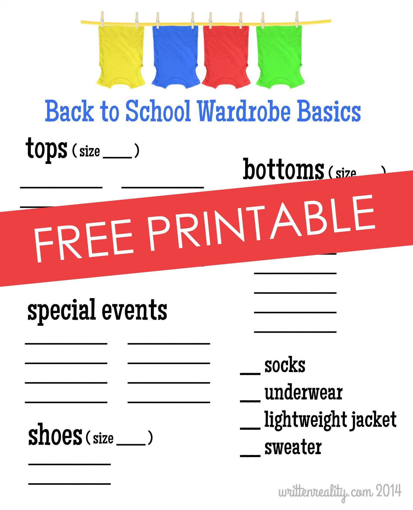 school shopping checklist