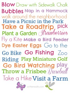 Spring Checklist of Family Fun!