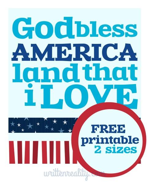 God Bless America Printable