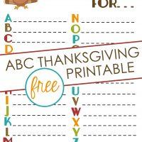 ABC Thanksgiving Printables Kids