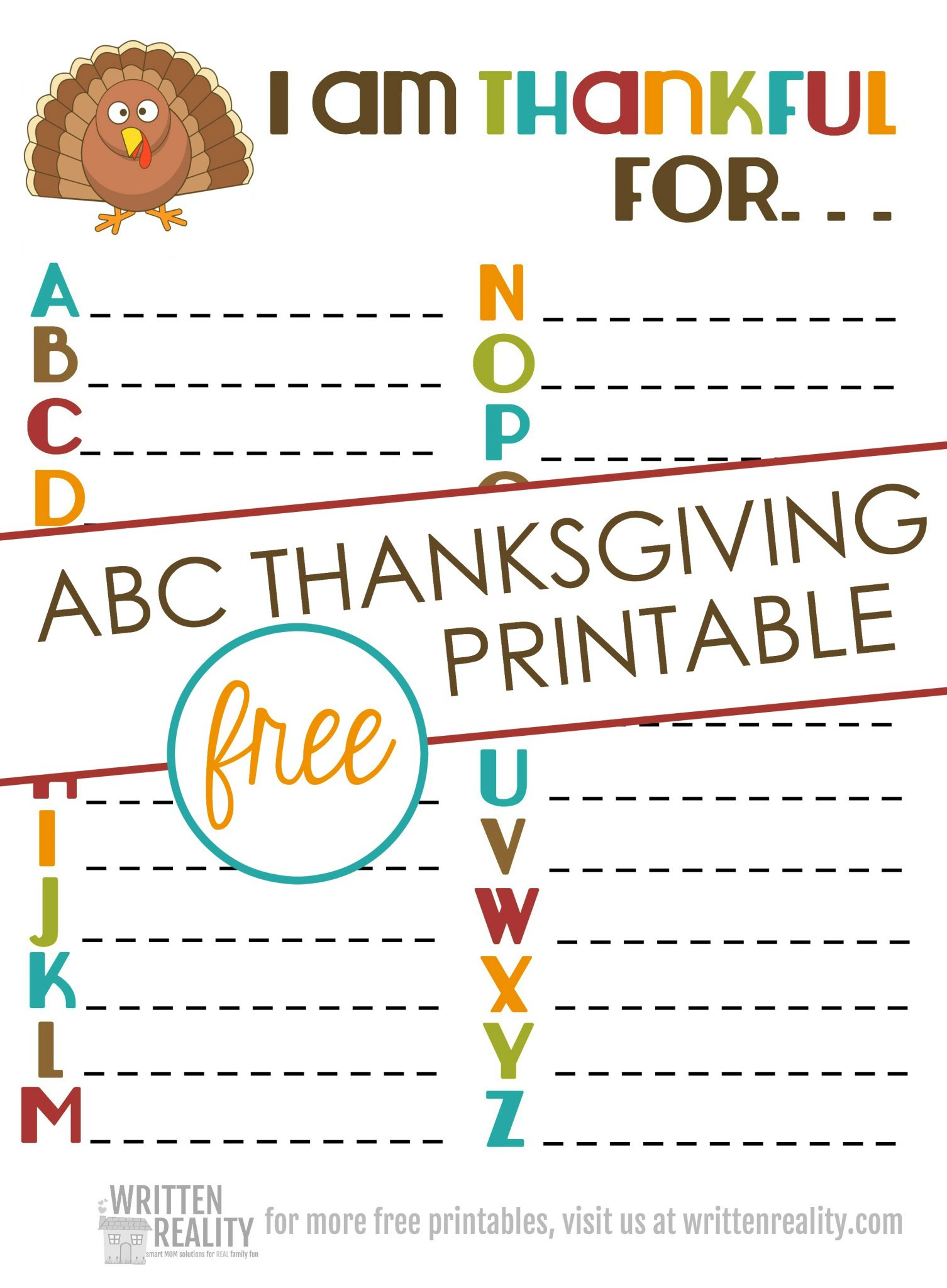photograph regarding Thankful Printable named Grateful ABCs Printable is great for Thanksgiving