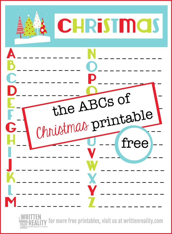 graphic relating to Abc Printable called Cost-free ABC Xmas Printable