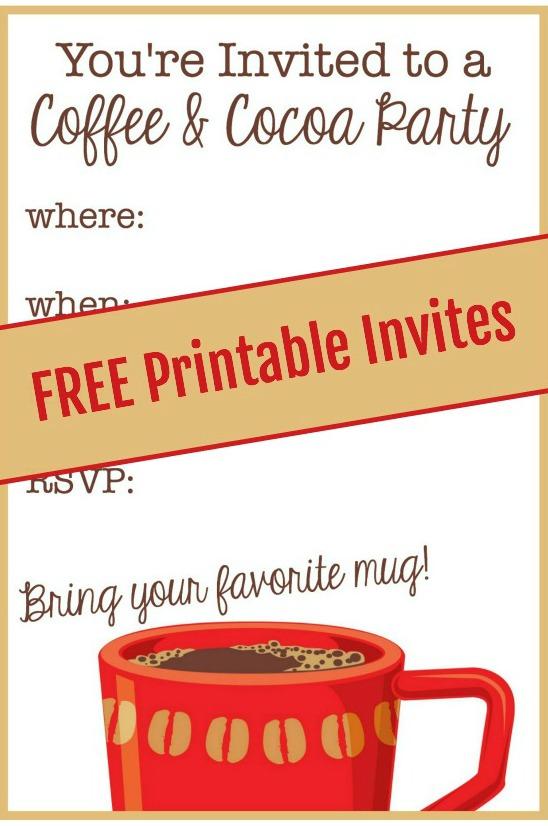 Free Coffee Cocoa Party Invite
