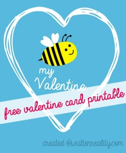 Bee My Valentine Card Printable