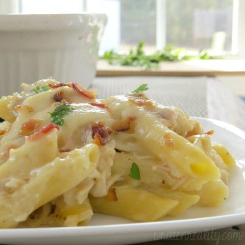 easy chicken pasta bake