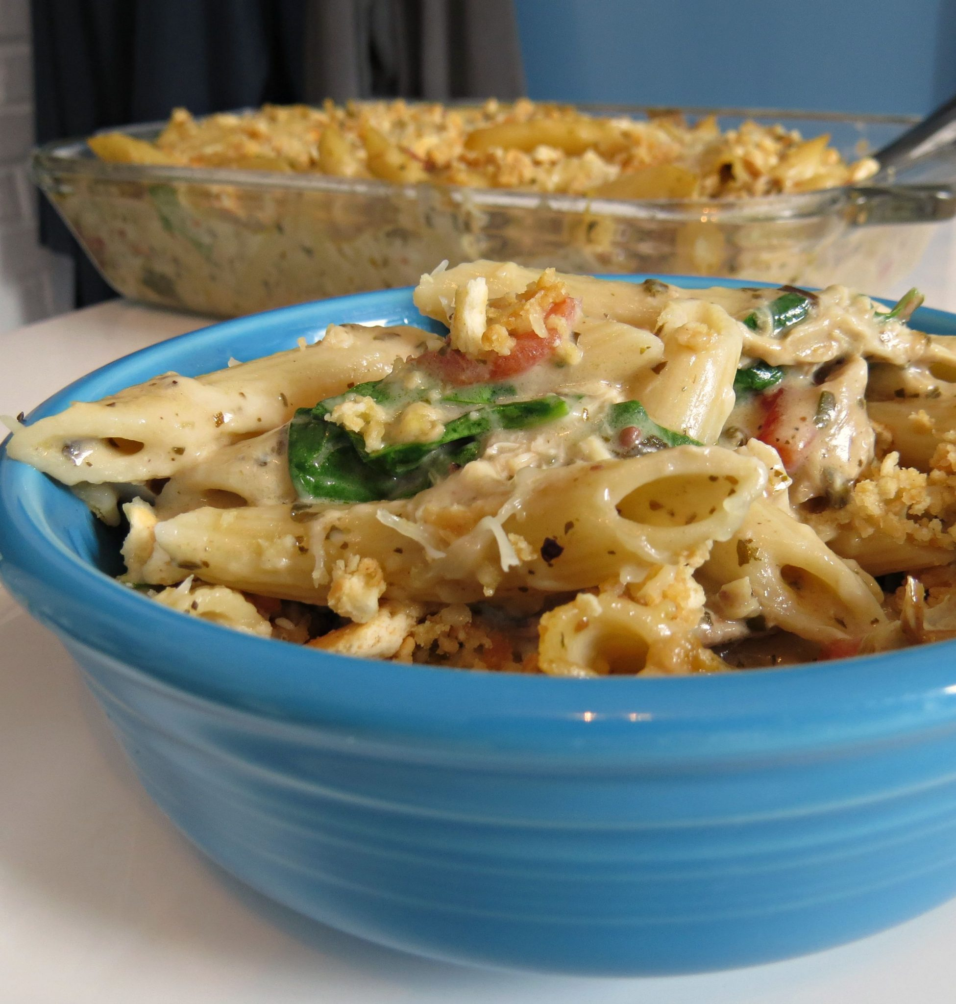 Pesto Chicken Casserole recipe that's creamy and delicious!