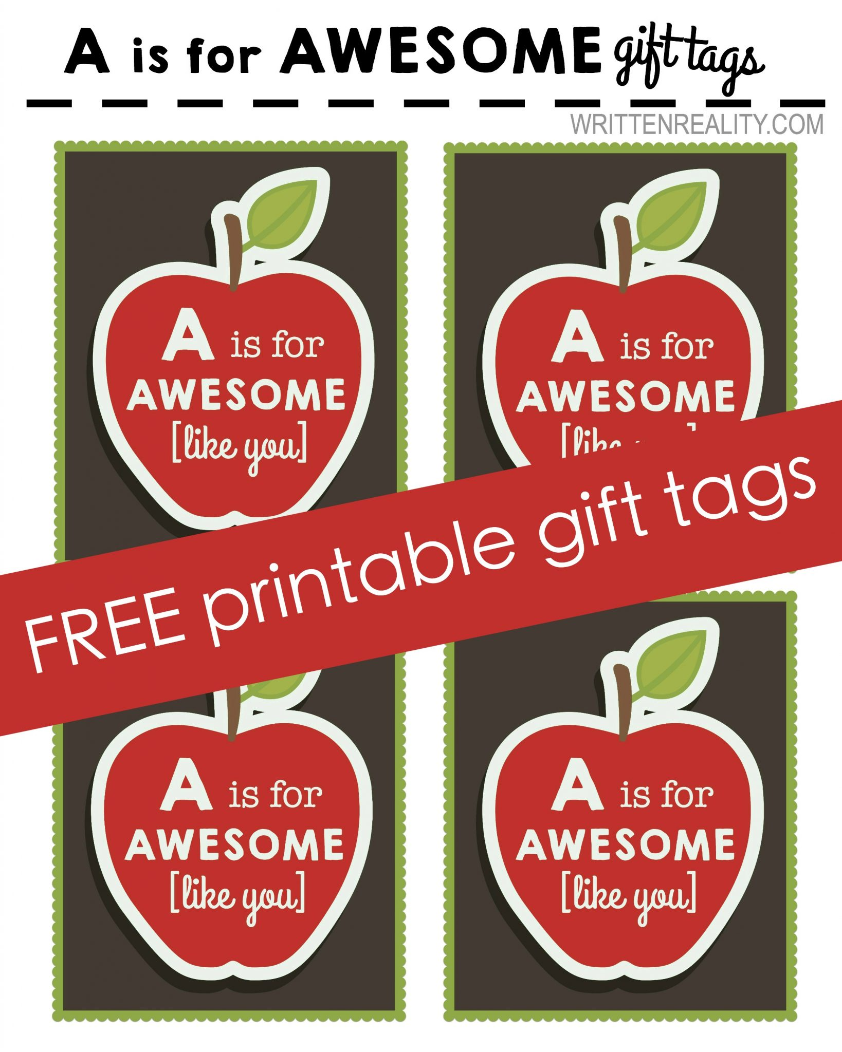 image regarding Printable Gifts identify Absolutely free Printable Apple Tag - Composed Truth of the matter