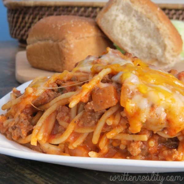 This Cheesy Baked Spaghetti recipe is my go-to easy dinner!!