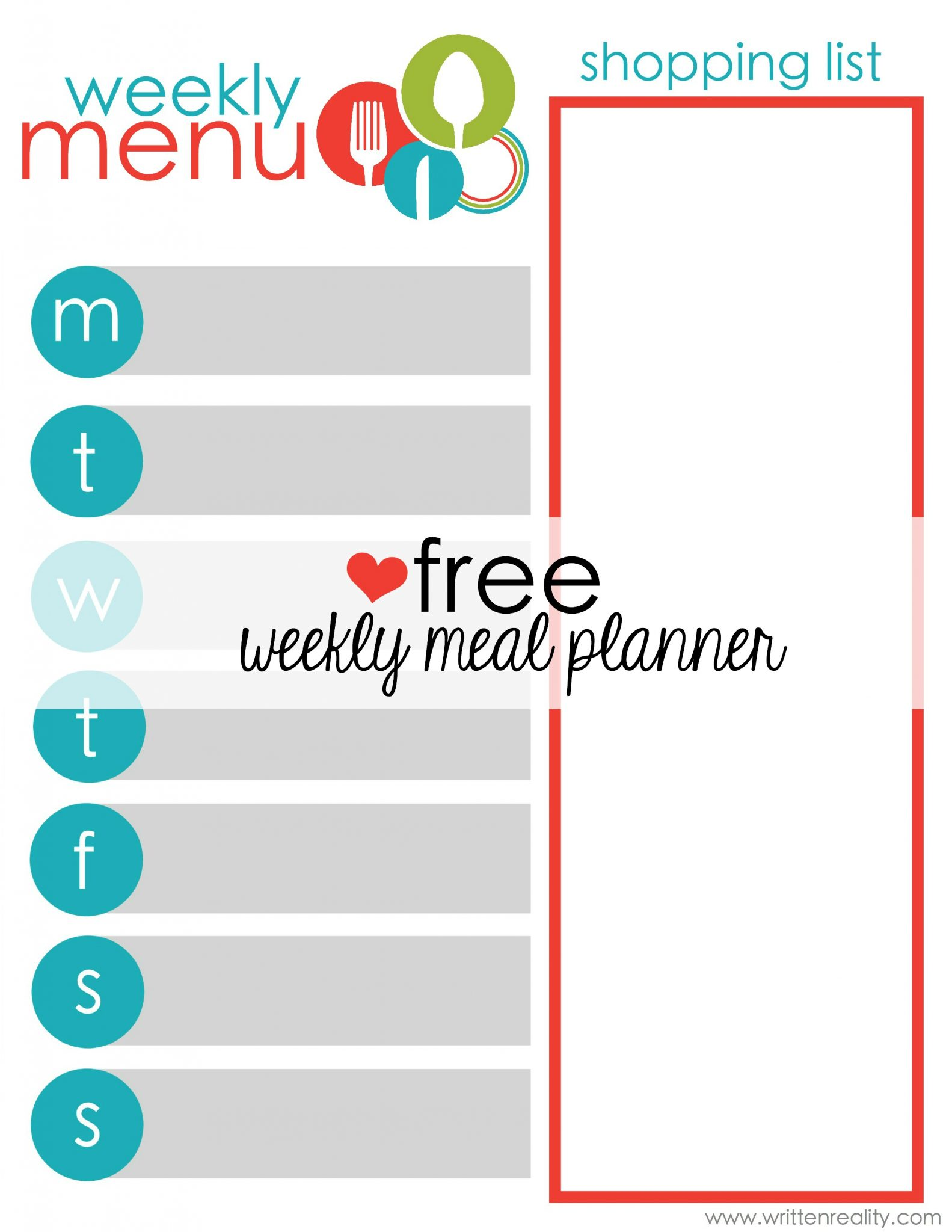 free meal planner printable written reality