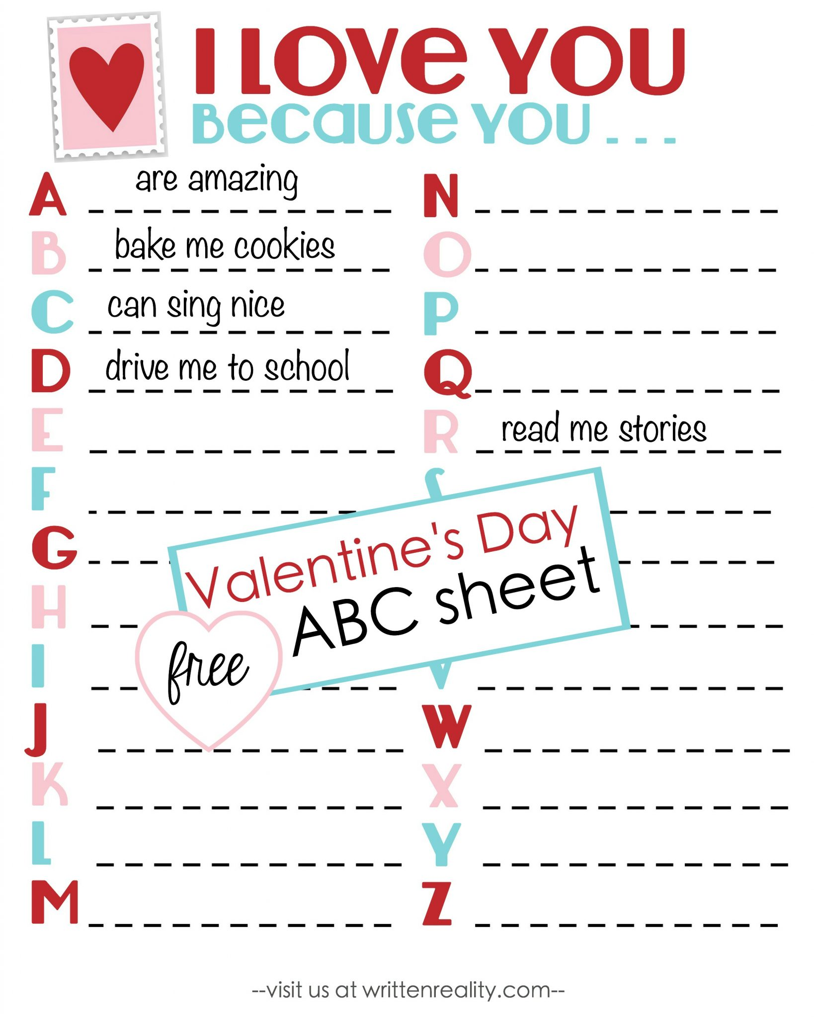 Here's a free Valentine's Day ABC Sheet to share!