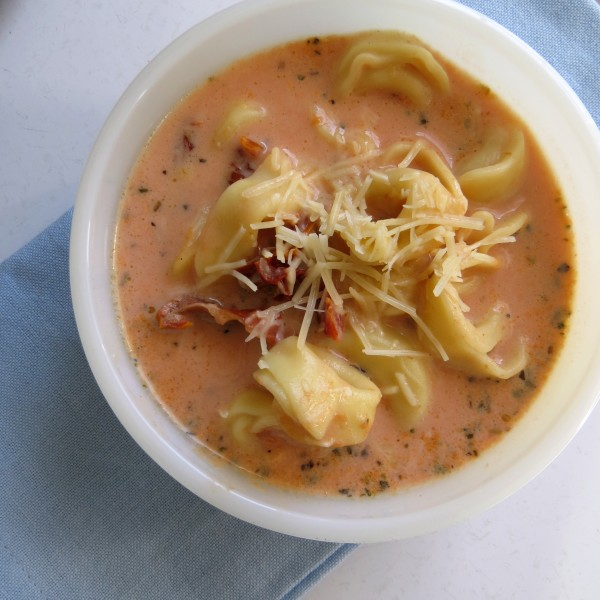 This Tomato Tortellini Soup recipe is easy and delicious!