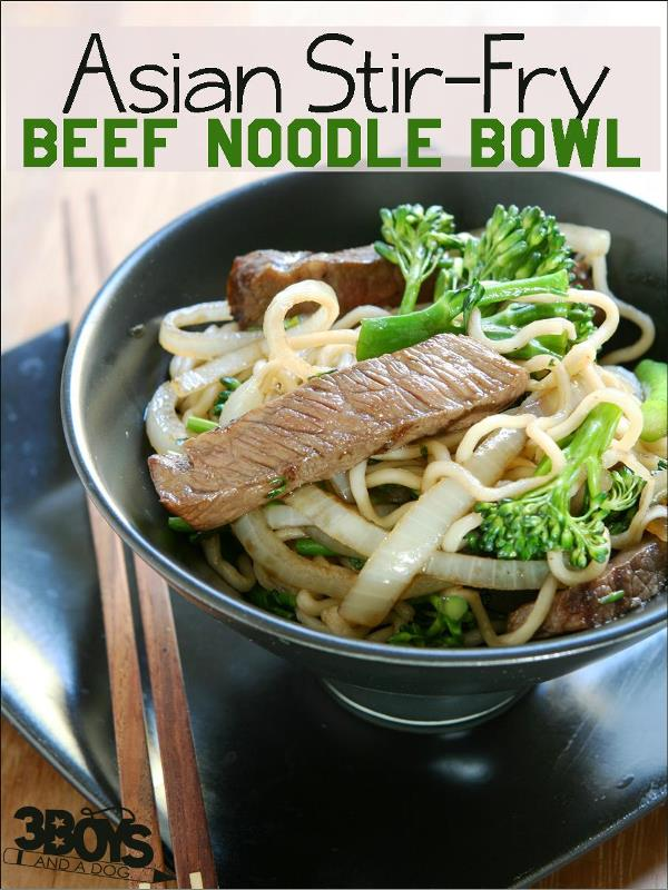 Asian beef noodle bowl
