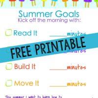 free summer activities for kids chart