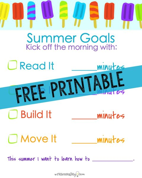 free summer activities for kids chart