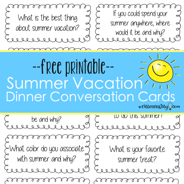photo regarding Printable Conversation Cards known as Supper Interaction Starters for Summer season - Prepared Truth