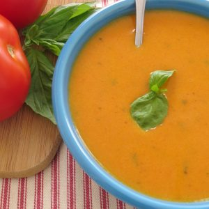 Warm up with a bowl of this Tomato Basil Soup