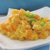 corn casserole on a plate