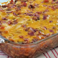 baked bean casserole in dish